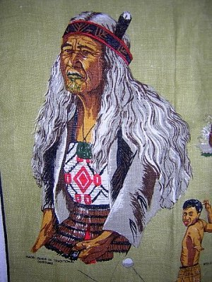 Maori New Zealand souvenir linen towel warrior chief costumes 1027vf