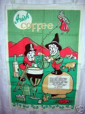 Irish Coffee by Leprechaun linen towel shamrocks fairy unused 1028vf