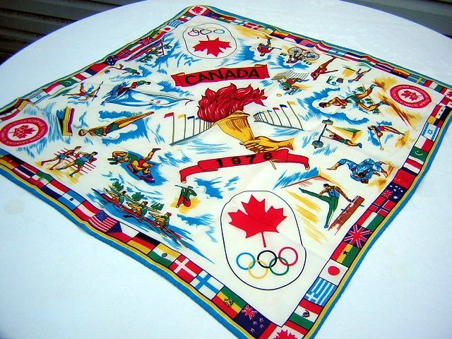 1976 Summer Olympics souvenir scarf Montreal Canada 1034vf