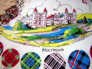 Souvenir scarf Scotland castles pipers unused vintage 1035vf