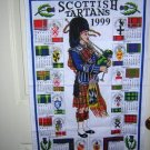 Scottish Tartans 1999 souvenir calendar towel unused 1030vf