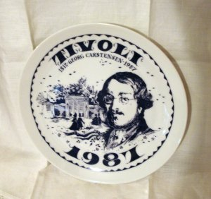 Georg Carstensen commemorative plate Tivoli Gardens 1987 numbered 1044vf