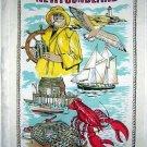 Newfoundland souvenir towel lobster, fisherman schooner vintage 1045vf