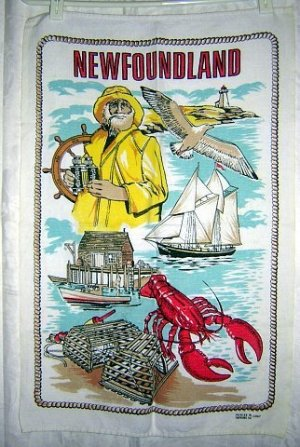 Newfoundland souvenir towel lobster, fisherman schooner vintage 1045vf
