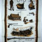 Manitou Springs CO souvenir towel Conestoga Derringer Colt pioneers log cabin 1069vf