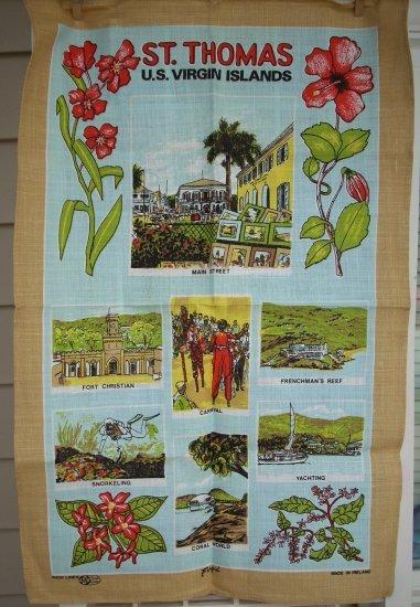 St. Thomas Virgin Islands souvenir tea towel Irish linen unused vintage  1080vf