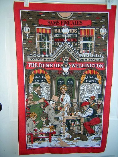 Duke of Wellington Victorian pub cotton towel great vintage 1097vf
