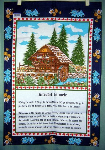 Strudel di mele recipe cotton tea towel chalet unused vintage 1098vf
