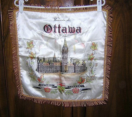 Souvenir satin cushion cover Ottawa Canada Houses of Parliament 1099vf