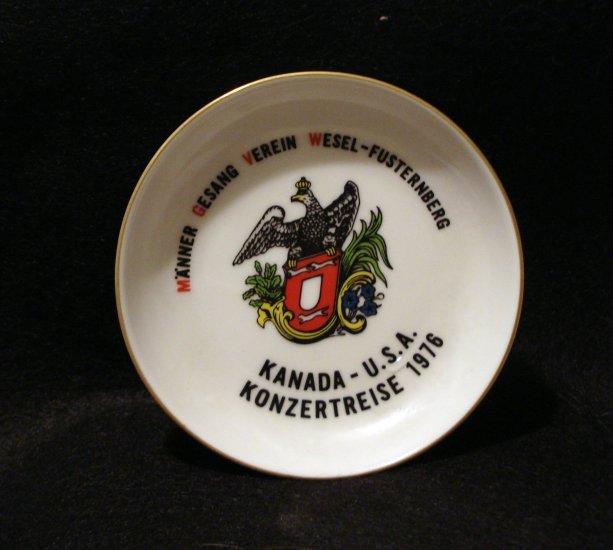 1976 Souvenir plate or pin dish Kanada USA Konzertreise Arzburg Germany 1108vf