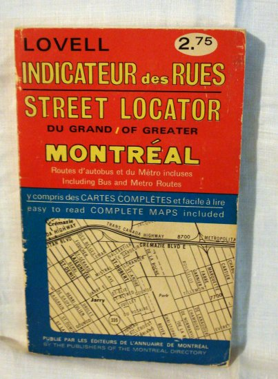 Lovell Street Locator Greater Montreal Indicateur des Rues 1977 edition 1125vf
