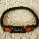 Coconut shell bracelet souvenir of Hawaii stretch beads hibiscus flower 1126vf