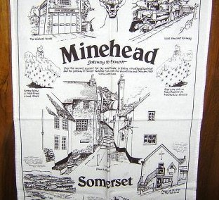 Minehead Somerset cotton souvenir towel Sally Jayne 1156vf