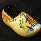 Dutch wooden shoe with shoe brush souvenir of Holland windmill 1158vf