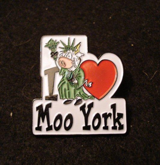 I Love heart Moo York tack back souvenir pin cow Statue of Liberty 1160vf