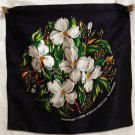 Dogwood on navy satin souvenir cushion cover British Columbia vintage 1165vf