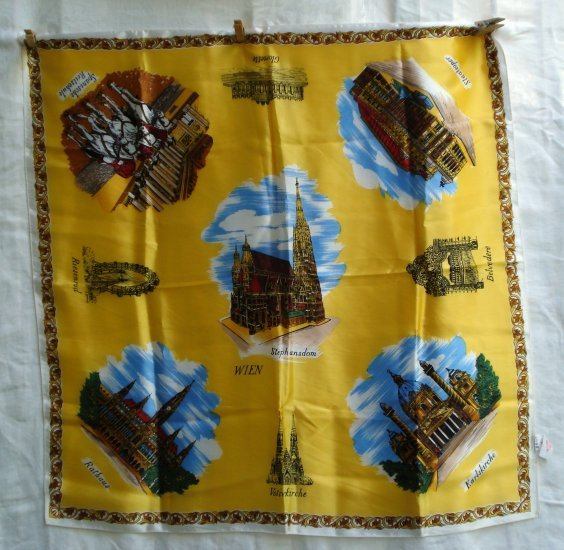Wien Vienna Austria souvenir scarf unused vintage yellow background vintage1168vf