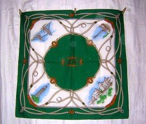 London England souvenir scarf polyester green border vintage 1179vf