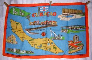 Curacao Bon Bini souvenir towel maps and sites Moygashel linen1183vf