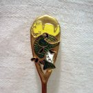 Kamloops Canada souvenir spoon Kami the carp in cowboy hat goldtone cloisonne 1186vf