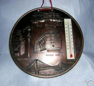 San Francisco coppertone souvenir thermometer cable car vintage 1189vf