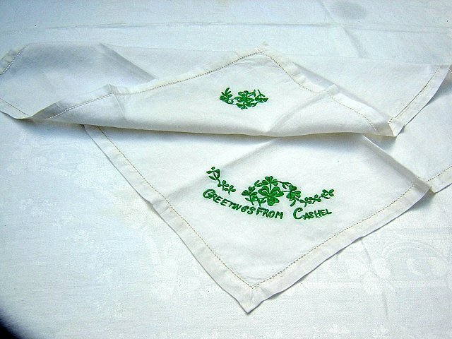 Greetings from Cashel shamrock embroidered linen tray liner table mat 1190vf