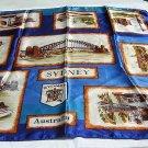 Satin souvenir scarf Sydney Australia unused vintage 1195vf