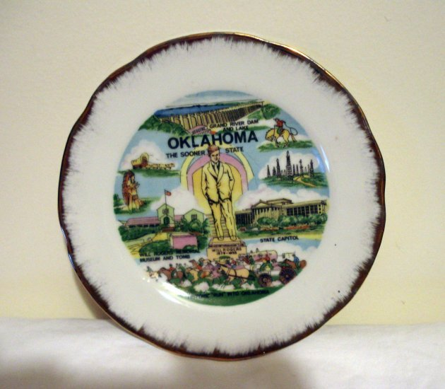 Oklahoma the Sooner State Will Rogers souvenir porcelain plate vintage 1205vf