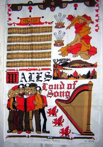 Wales Land of Song souvenir cotton towel unused 1211vf