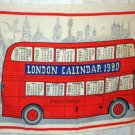 London double decker bus 1980 souvenir linen calendar towel Blackstaff 1222vf