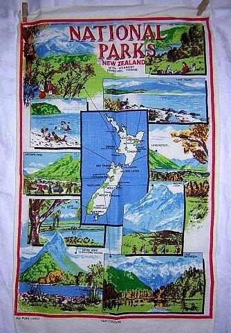 National parks New Zealand souvenir linen towel unused 1249vf