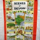 1982 Scenes of Devon souvenir towel cotton Clive Mayor unused vintage 1264vf