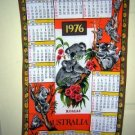 Cotton calendar towel Australia koala bears 1976 crafty collectible 1265vf