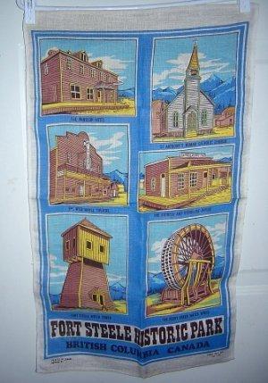 Fort Steele Historic Park souvenir linen towel BC, Canada 1271vf