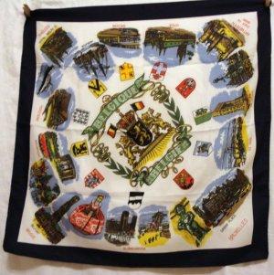 Belgium Flemish souvenir scarf Belgie Belgique vintage 1284vf