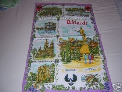 Adelaide souvenir linen towel scenes monuments vintage 1288vf