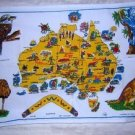Map Australia towel animals vintage hopsacking colorful 1294vf