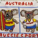 Aussie Sports Down Under souvenir towel koala bears vintage linens 1302vf