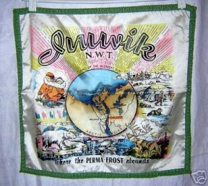 Inuvik NWT souvenir cushion cover igloos moose polar bear 1304vf