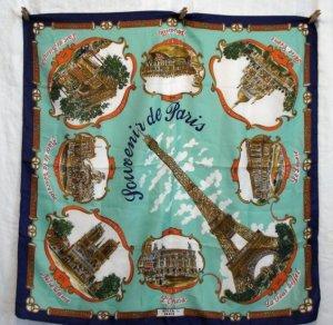 Souvenir de Paris scarf Roger L aqua background made Italy vintage 1316vf