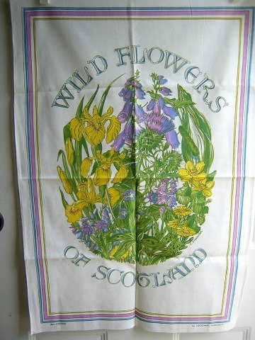 Wild flowers of Scotland cotton towel beautiful unused vintage 1336vf