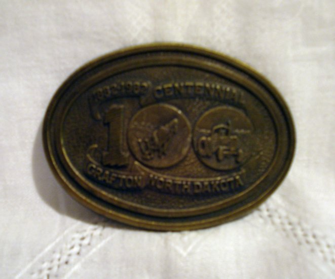 Brass belt buckle Grafton North Dakota Centennial 1882-1982 vintage1343vf