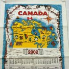 Personalized Canada 2002 calendar towel map on birch bark vintage linens 1347vf
