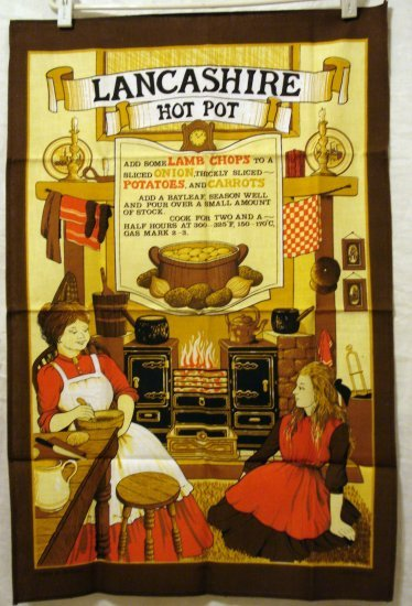 Lancashire Hot Pot recipe cotton towel unused Vista vintage souvenir linens 1357vf