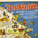 Yorkshire pictorial map souvenir towel humorous colorful vintage1361vf
