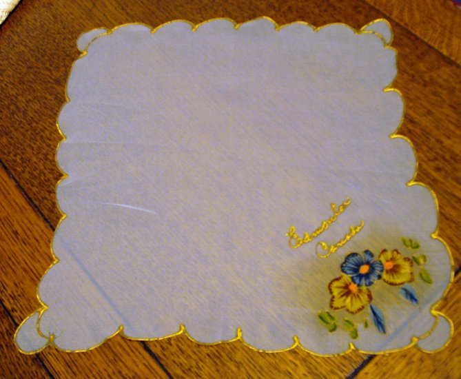 Hand painted silk souvenir hanky Edmonton Canada scalloped edge vintage1362vf