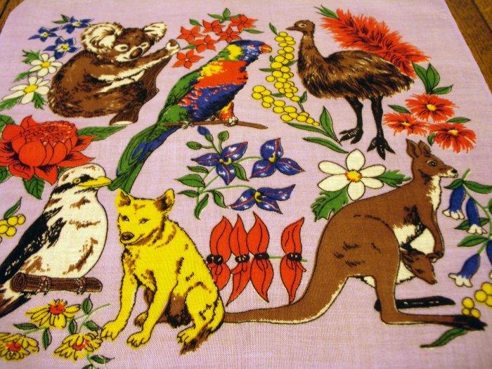 Australian wildlife cotton souvenir hanky lilac vintage1363vf