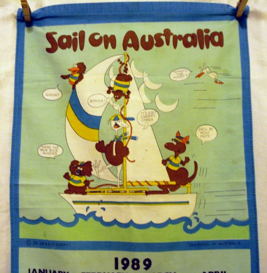 Sail On Australia 1989 calendar cotton towel vintage souvenir linens 1365vf