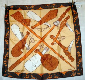 New Zealand souvenir scarf Traditional Maori Weapons Ma Cherie unused vintage1375vf