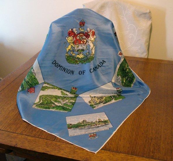 Dominion of Canada 1950s souvenir scarf blue vintage1379vf